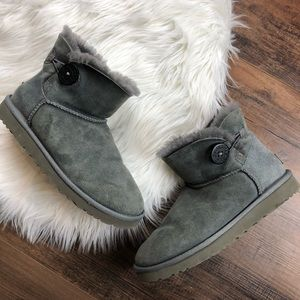 UGG Gray Bailey Button Mini Ankle Boots